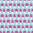 Seamless Pattern Fly Agarics Pink/Blue