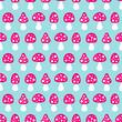 Seamless Pattern Fly Agarics Pink/Blue
