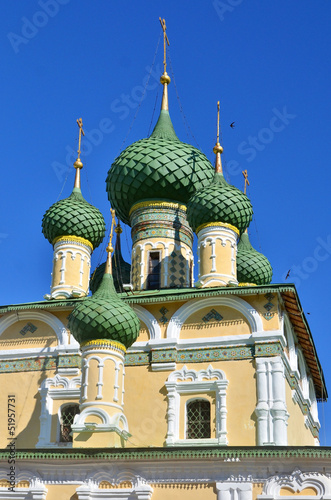Towers and golden cupolas of church in Russia