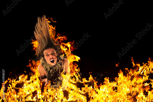 Woman surrounded by fire