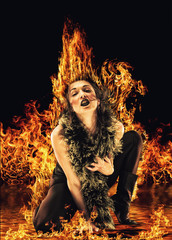 Vampire woman surrounded by fire