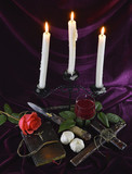 Romantic vampire composition with candles