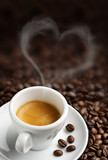 coffee cup with heart- shaped steam - 51958975