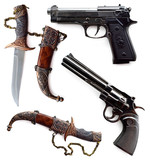 Knives and guns set isolated