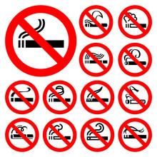 No smoking - czerwone symbole