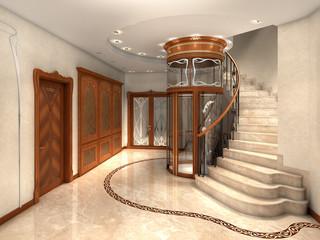 rendering of an art nouveau entrance hall