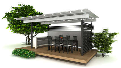 rendering of an outdoor  kitchen and dining area