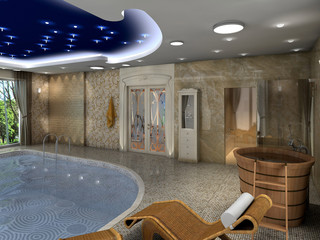 rendering of a luxurious indoor swimming pool