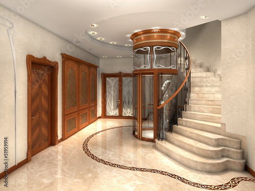 rendering of an art nouveau entrance hall