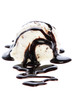 stracciatella ice cream with chocolate sauce