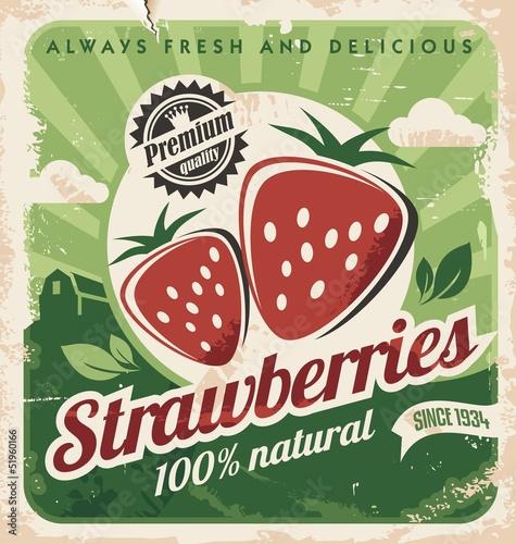 Vintage plakat szablon dla gospodarstwa truskawek