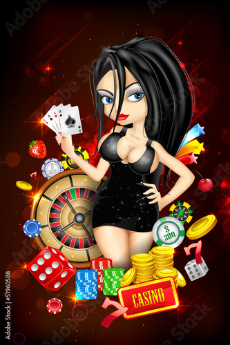 Lady with Casino Card