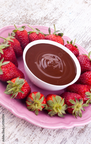 chocolate fondue and strawberry