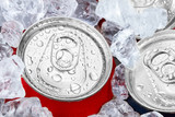 drink cans in crushed ice