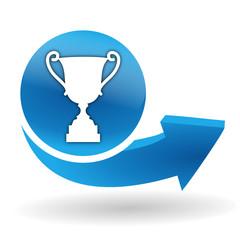 victoire sur bouton web bleu