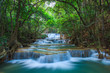 canvas print picture - Deep forest Waterfall in Kanchanaburi, Thailand