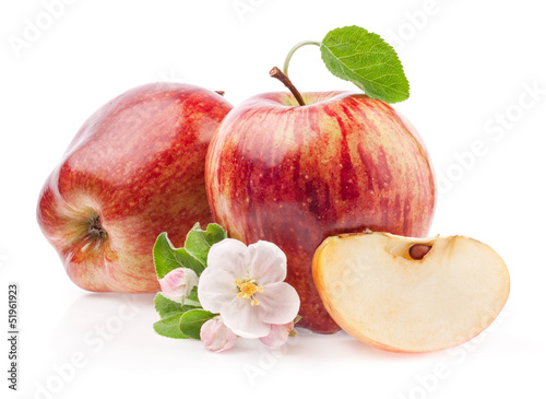 Red Apples with flowers isolated on white background