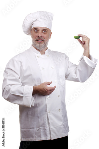 Chef with a cucumber