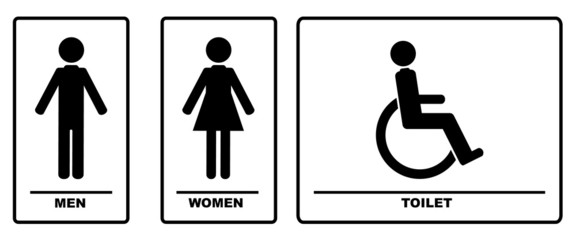 WC Signs Black Illustration Vector Silhouettes