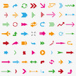 canvas print picture - 64 colorful arrows with shadow