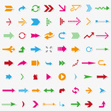 64 colorful arrows with shadow