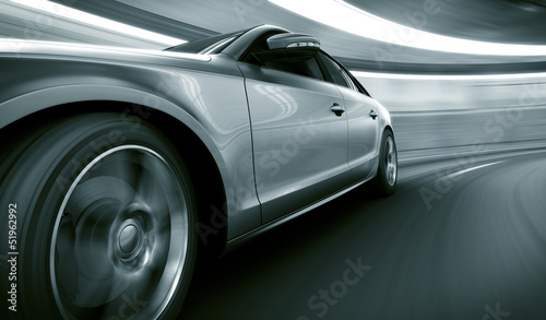 canvas print picture Car driving fast in tunnel