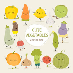 Cute vector set of vegetables