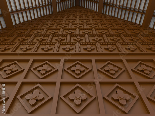 3D Oriental flower pattern wall interior
