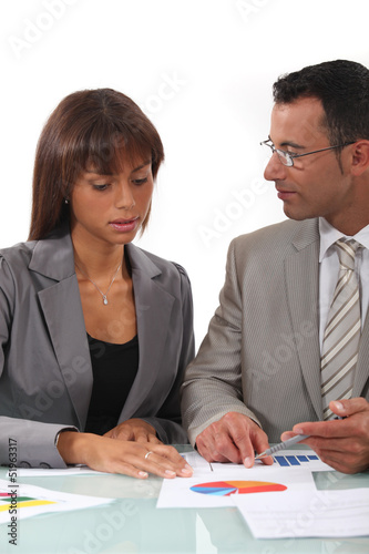 Two businesspeople going over results