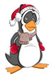 Winter Christmas Cartoon Penguin Vector Illustration