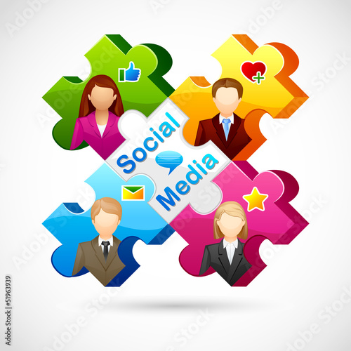 vector illustration of human jigsaw puzzle of Social media