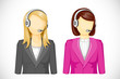 vector illustration of call center woman icon