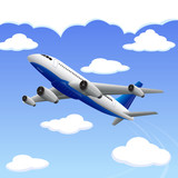 vector illustration of airplane travelling to your destination
