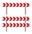 Red and white construction barricade