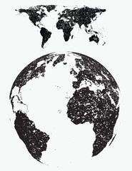 grunge world map with globe