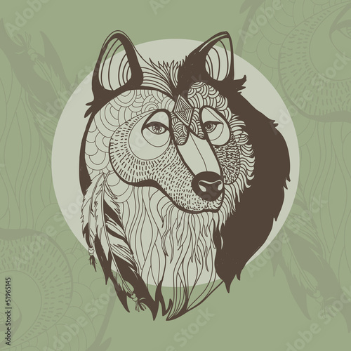 Awsome vector illustration of wolf with feathers