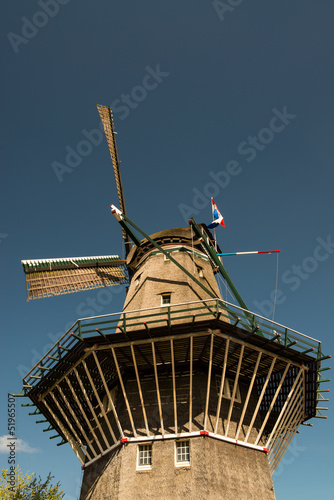 Amsterdam, The Netherlands. Typical Dutch Windmill on a sunny da