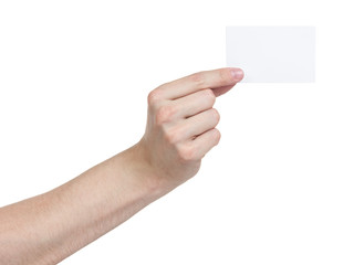 adult man hand holding blank paper card