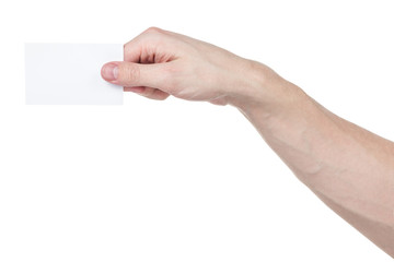 adult man hand holding blank visiting card