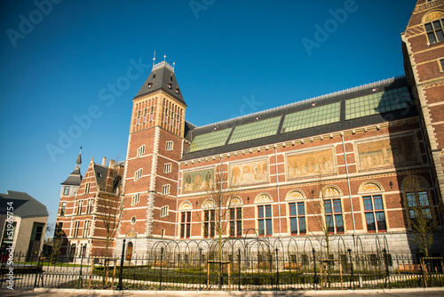 Amsterdam. Beautiful exterior architecture of Central Station