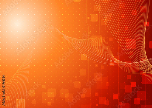 Modern hi-tech background template in orange