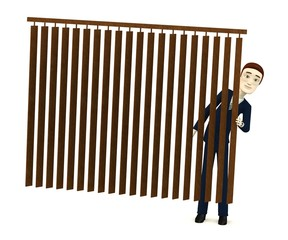 3d render of cartoon character behind curtain