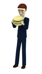 3d render of cartoon character with hamburger