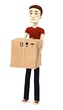 3d render of cartoon character with package