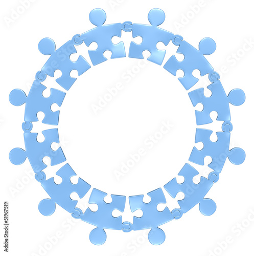 Teamwork.Puzzle people holding hands in circle. Blue. Isolated.