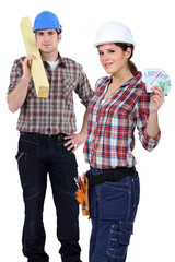 Carpenters with bank notes
