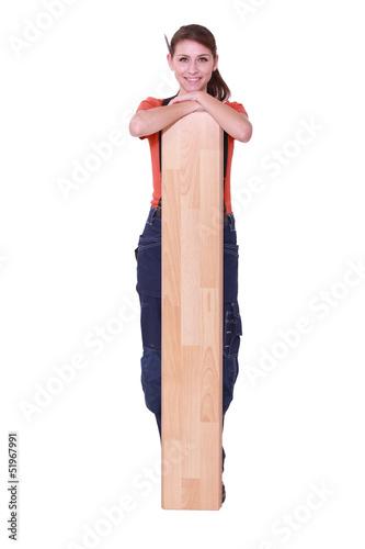 Woman with parquet slats