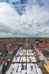 Market on the central square of the Dutch town Delft