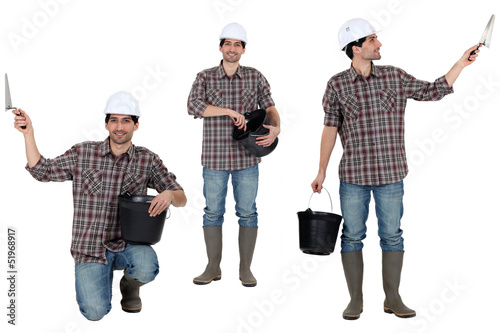 Multiple shot of handyman with bucket and trowel