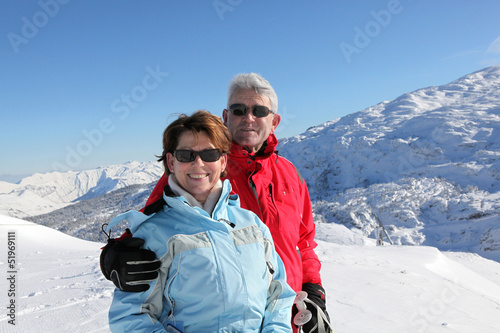 Portrait of senior couple in winter holidays